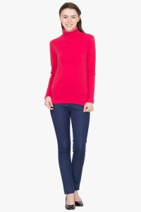 Hypernation Red Turtle Neck Cotton T-shirt HYPW0448