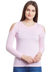 Hypernation Pink White Stripe Cold Shoulder Round Neck Cotton Top  HYPW0950