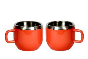 Dynamic Store Stainless Steel Double Wall Set Of 2 Red Warm Cups - DS_418