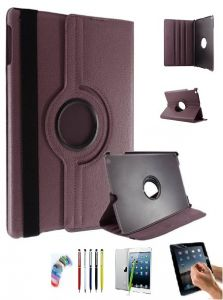 Tablet Cases, Pouches - PU Leather Full 360 Rotating Flip Book Cover Case Stand for Samsung Galaxy Tab 3 T311 (Brown) with Matte Screen Guard, Stylus and Wrist band