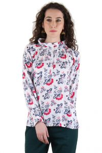 CHIMERA White Full Sleeve Floral Print Rayon Madarian Collar Top For Women