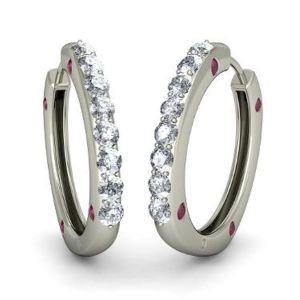 Sheetal Diamonds 0.50TCW Real Round Diamond Hoop Earring In White Gold E0082-18k