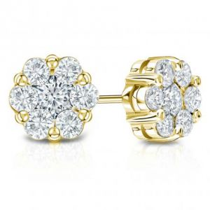 Sheetal Diamonds 0.50TCW Simple Looking Round Diamond Cluster Stud Earring E0358-18K