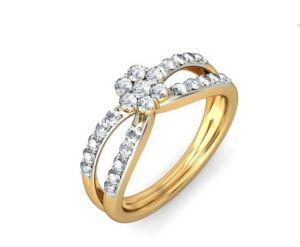Sheetal Diamonds 0.70TCW Real Round Cut Diamond Cluster Ring R0471-14K