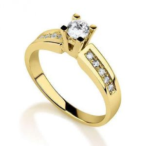 Sheetal Diamonds 0.50TCW Real Round Solitaire With Accents Diamond Ring R0673-14K