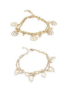FashBlush Golden Rosette Leaf Alloy Charm Bracelet  (Pack OF 2)(Product Code FB26122)