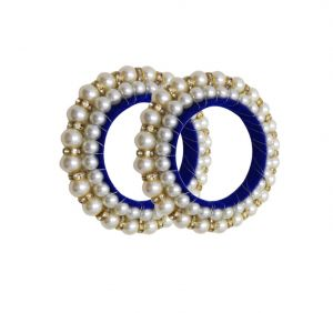 FashBlush Handmade Blue And White Thread Pearl Shine Pack Of 2 (Size 2.4) (Code - FB26147)