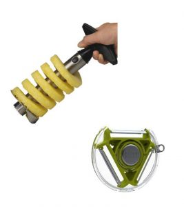 Stainless Steel Easy Pineapple Corer Slicer With Compact 3-blade Peeler