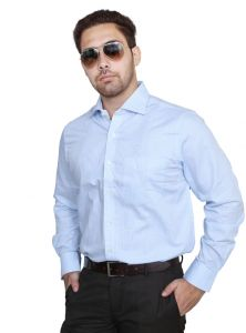 Iq Pure Cotton Skyblue Shirt For Men A2131_3