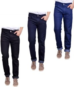 Jeans (Men's) - Masterly Weft Trendy Pack Of 3 Mens Cotton Jeans - (Code -D-JEN-1-2-3-D-P)