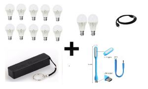 Vizio Combo Of 5 W LED Bulbs(set Of 8), 3 W LED Bulbs(set Of 3), 2600 mAh Power Bank With Data Cable USB Light