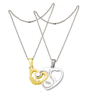 Men Style Lovers Heart Puzzle Pendant (Product Code - S Diamond Gold And Silver Stainless Steel Heart Pendant (Product Code -  SPn011025)