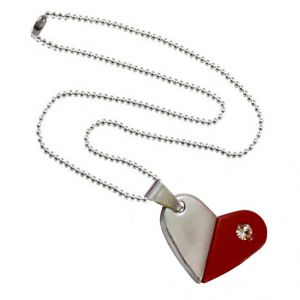 Men Style Rotational Two Colour Twice Style Heart Or Bullet Red And Silver Stainless Steel Heart  Pendant (Product Code -  SPn011062)