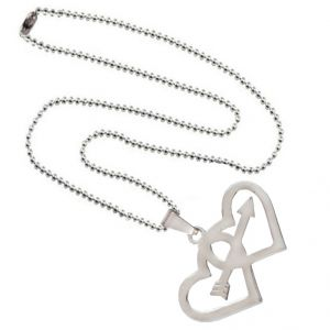 Men Style Heart Heart Arrow Pendant (Product Code -  Silver Stainless Steel Heart  Pendant (Product Code -  SPn011083)