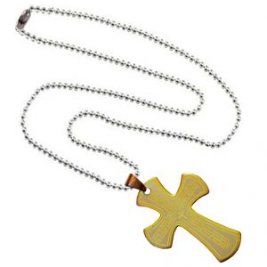 Men Style Bible Prayer Jesus Cross Plated SPn003018 Gold And Silver Stainless Steel Cross Necklace Pendant For Men And Women (Product Code -SPn003018)