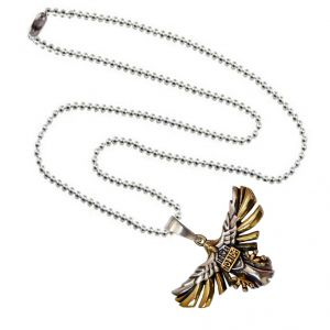Men Style Eagle Flying Bird Pendant Gold And Silver Zinc Alloy Circle Necklace Pendant For Men And Boys (Product Code -SPn003046)