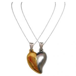 Men Style Couples Broken Heart Mangnetic Love  Gold And Silver 316 L Stainless Steel Heart Pendant For Men And Women (Product Code - SPn09022)