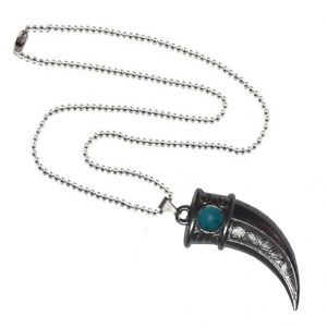 Men Style Blue Crystal Hunting Lion Claw  Gray Zinc Alloy Nail Pendant For Men And Women (Product Code - SPn09045)