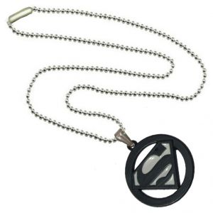 Men Style Superman Inspired SPn09080 White And Black Alloy Circle Pendant For Men And Women (Product Code - SPn09080)