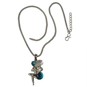 Men Style New Design Blue And White Crystal Angel Wings Long Chain Fairy Multicolor Alloy Butterfly Pendant