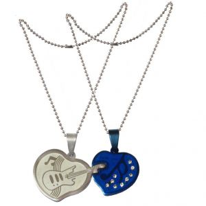 Men Style Special Heart-shaped Guitar Stainless Steel Couple Pendant With Chains Silver And Blue Heart Pendant (Product Code -  SPnoct009)