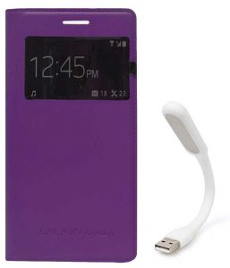 Tbz S-view Flip Cover Case For Samsung Galaxy Grand 2 With Flexible USB LED Light Lamp - Purple