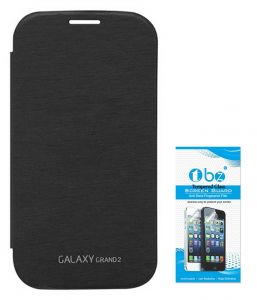 Tbz Flip Cover Case For Samsung Galaxy Grand 2 With Tempered Screen Guard - Black
