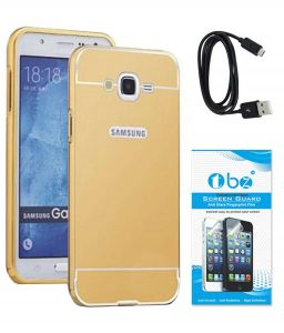 Tbz Metal Bumper Acrylic Mirror Back Cover Case For Samsung Galaxy On8 With Data Cable And Tempered Screen Guard - Golden