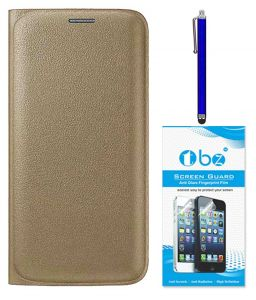 Tbz Pu Leather Flip Cover Case For Samsung Galaxy J7 (2016) With Stylus Pen And Tempered Screen Guard - Golden