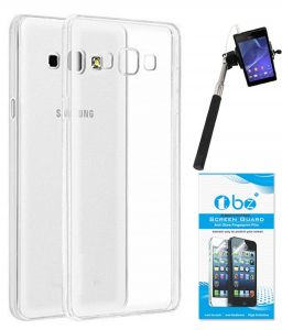 Mobile Accessory Combos - TBZ Transparent Silicon Soft TPU Slim Back Case Cover for Samsung Galaxy Z2 with Selfie Stick Monopod with Aux and Tempered Screen Guard