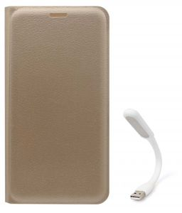 Tbz Pu Leather Flip Cover Case For Motorola Moto E3 Power With Flexible USB LED Light - Golden