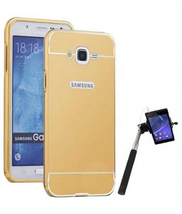 Tbz Metal Bumper Acrylic Mirror Back Cover Case For Samsung Galaxy On8 With Selfie Stick Monopod With Aux - Golden