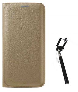 Tbz Pu Leather Flip Cover Case For Samsung Galaxy J7 (2016) With Selfie Stick Monopod With Aux - Golden