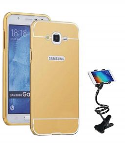 Tbz Metal Bumper Acrylic Mirror Back Cover Case For Samsung Galaxy On8 With Flexible Tablet/phone Holder Lazy Stand - Golden