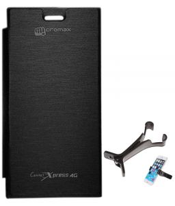 Tbz Flip Cover Case For Micromax Canvas Xpress 4G Q413 With Multi Stand Tablet/phone Holder - Black