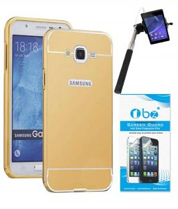 Tbz Metal Bumper Acrylic Mirror Back Cover Case For Samsung Galaxy On8 With Selfie Stick Monopod With Aux And Tempered Screen Guard - Golden