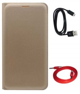 Tbz Pu Leather Flip Cover Case For Motorola Moto E3 Power With Aux Cable And Data Cable - Golden