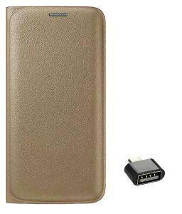 Tbz Pu Leather Flip Cover Case For Samsung Galaxy J7 (2016) With Cute Micro USB Otg Adapter - Golden