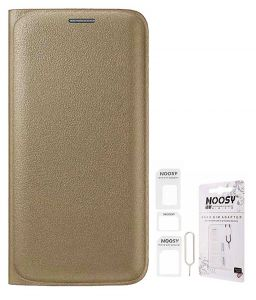 Tbz Pu Leather Flip Cover Case For Samsung Galaxy J7 (2016) With Nossy Sim Adaptor - Golden