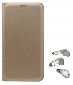 Tbz Pu Leather Flip Cover Case For Motorola Moto E3 Power With USB Car Charger - Golden