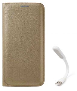Tbz Pu Leather Flip Cover Case For Samsung Galaxy J7 (2016) With Flexible USB LED Light Lamp - Golden