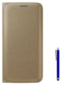 Tbz Pu Leather Flip Cover Case For Samsung Galaxy J7 (2016) With Stylus - Golden