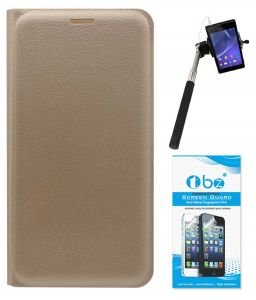 Mobile Accessory Combos - TBZ PU Leather Flip Cover Case for Xiaomi Redmi 3s Prime with Selfie Stick with Aux and Tempered Screen Guard - Golden