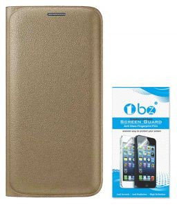 Tbz Pu Leather Flip Cover Case For Samsung Galaxy J7 (2016) With Tempered Screen Guard - Golden