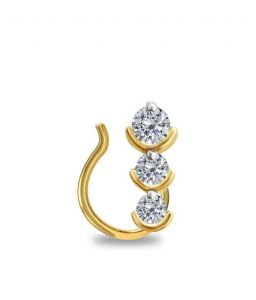 Diamond Nose Rings, Pins - Sheetal Impex 0.15 Cts Real Natural Diamond Nose Pin In Gold With Certificate N00001
