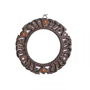 Onlineshoppee Wooden Antique Round Shaped Mirror With Key Holder AFR2380