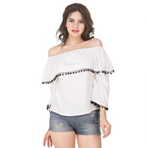 Jollify Women's White Amercan Crepe Off Shoulder Top(Product Code - Yswhitefrilloffshoulder-)