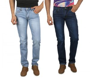 Jevaraz Men Cotton Blue Pack Of 2 Jeans Jvrz10203032