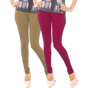 Vivan Creation Stylish Comfortable N Colorful Pair Of Women Cotton Churidaar Leggings (product Code - Dl5comb743)