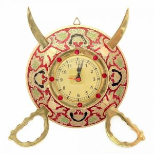 Vivan Creation Rajasthani Real Brass Sword Armour Wall Clock -107